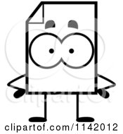 Cartoon Clipart Of A Black And White Document Mascot With Hands On Hips Vector Outlined Coloring Page