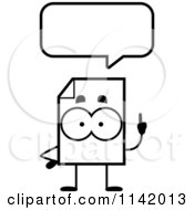 Cartoon Clipart Of A Black And White Document Mascot Talking Vector Outlined Coloring Page