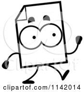 Cartoon Clipart Of A Black And White Document Mascot Walking Vector Outlined Coloring Page