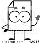 Cartoon Clipart Of A Black And White Document Mascot Waving Vector Outlined Coloring Page