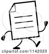 Cartoon Clipart Of A Black And White Note Document Mascot Walking Vector Outlined Coloring Page