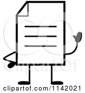 Cartoon Clipart Of A Black And White Note Document Mascot Waving Vector Outlined Coloring Page