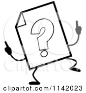 Cartoon Clipart Of A Black And White Help Document Mascot Doing A Happy Dance Vector Outlined Coloring Page