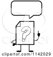 Cartoon Clipart Of A Black And White Help Document Mascot Talking Vector Outlined Coloring Page