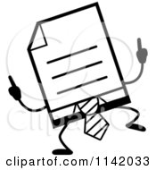 Cartoon Clipart Of A Black And White Business Document Mascot In A Red Tie Doing A Happy Dance Vector Outlined Coloring Page