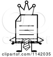 Cartoon Clipart Of A Black And White Business Document Mascot In A Red Tie King Vector Outlined Coloring Page