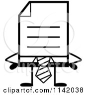 Cartoon Clipart Of A Black And White Business Document Mascot In A Red Tie With Hands On Hips Vector Outlined Coloring Page