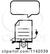 Cartoon Clipart Of A Black And White Business Document Mascot In A Red Tie Talking Vector Outlined Coloring Page
