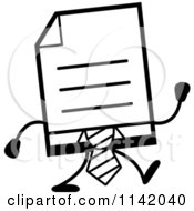 Cartoon Clipart Of A Black And White Business Document Mascot In A Red Tie Walking Vector Outlined Coloring Page