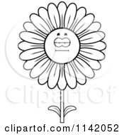 Cartoon Clipart Of A Black And White Bored Daisy Flower Character Vector Outlined Coloring Page by Cory Thoman