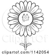 Cartoon Clipart Of A Black And White Sick Daisy Flower Character Vector Outlined Coloring Page by Cory Thoman
