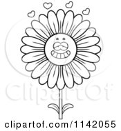 Cartoon Clipart Of A Black And White Daisy Flower Character In Love Vector Outlined Coloring Page by Cory Thoman