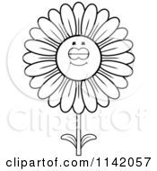 Cartoon Clipart Of A Black And White Sleeping Daisy Flower Character Vector Outlined Coloring Page by Cory Thoman