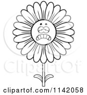 Cartoon Clipart Of A Black And White Depressed Daisy Flower Character Vector Outlined Coloring Page by Cory Thoman
