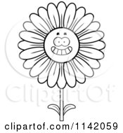 Cartoon Clipart Of A Black And White Happy Smiling Daisy Flower Character Vector Outlined Coloring Page by Cory Thoman