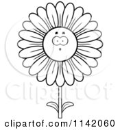 Cartoon Clipart Of A Black And White Surprised Daisy Flower Character Vector Outlined Coloring Page by Cory Thoman