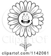 Cartoon Clipart Of A Black And White Talking Daisy Flower Character Vector Outlined Coloring Page by Cory Thoman