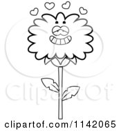 Cartoon Clipart Of A Black And White Dandelion Flower Character In Love Vector Outlined Coloring Page