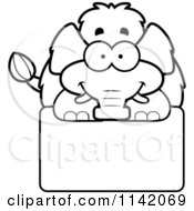 Cartoon Clipart Of A Black And White Happy Wooly Mammoth Over A Sign Vector Outlined Coloring Page