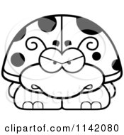 Cartoon Clipart Of A Black And White Angry Ladybug Vector Outlined Coloring Page
