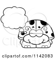 Cartoon Clipart Of A Black And White Dreaming Ladybug Vector Outlined Coloring Page