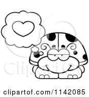 Cartoon Clipart Of A Black And White Ladybug In Love Vector Outlined Coloring Page