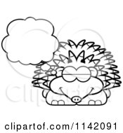 Cartoon Clipart Of A Black And White Dreaming Hedgehog Vector Outlined Coloring Page by Cory Thoman