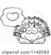 Cartoon Clipart Of A Black And White Hedgehog In Love Vector Outlined Coloring Page by Cory Thoman