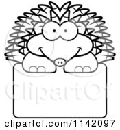 Cartoon Clipart Of A Black And White Happy Hedgehog Over A Sign Vector Outlined Coloring Page by Cory Thoman