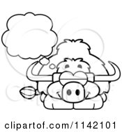 Cartoon Clipart Of A Black And White Dreaming Yak Vector Outlined Coloring Page