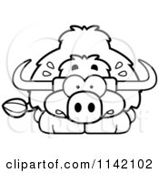 Cartoon Clipart Of A Black And White Scared Yak Vector Outlined Coloring Page