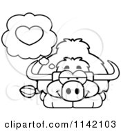 Cartoon Clipart Of A Black And White Yak In Love Vector Outlined Coloring Page