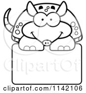 Cartoon Clipart Of A Black And White Happy Armadillo Over A Sign Vector Outlined Coloring Page by Cory Thoman