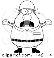 Cartoon Clipart Of A Black And White Stressed Chubby Army Man Vector Outlined Coloring Page
