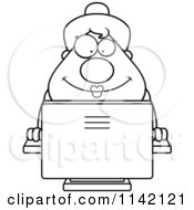 Black And White Happy Chubby Business Lady Using A Computer