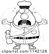 Cartoon Clipart Of A Black And White Stressed Chubby Mail Man Postal Worker Vector Outlined Coloring Page