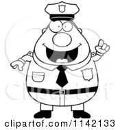 Cartoon Clipart Of A Black And White Chubby Police Man With An Idea Vector Outlined Coloring Page