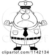 Cartoon Clipart Of A Black And White Angry Chubby Police Man Vector Outlined Coloring Page
