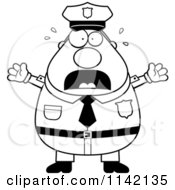 Cartoon Clipart Of A Black And White Frightened Chubby Police Man Vector Outlined Coloring Page