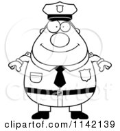 Cartoon Clipart Of A Black And White Happy Chubby Police Man Vector Outlined Coloring Page