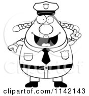 Cartoon Clipart Of A Black And White Chubby Police Woman With An Idea Vector Outlined Coloring Page
