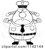 Cartoon Clipart Of A Black And White Angry Chubby Police Woman Vector Outlined Coloring Page