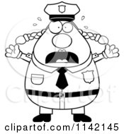 Cartoon Clipart Of A Black And White Panicing Chubby Police Woman Vector Outlined Coloring Page