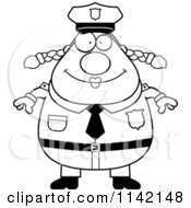 Cartoon Clipart Of A Black And White Happy Chubby Police Woman Vector Outlined Coloring Page