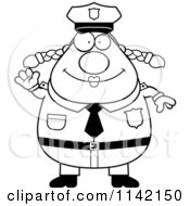 Cartoon Clipart Of A Black And White Friendly Waving Chubby Police Woman Vector Outlined Coloring Page
