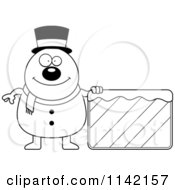Cartoon Clipart Of A Black And White Pudgy Snowman With An Ice Sign Vector Outlined Coloring Page