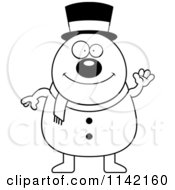 Cartoon Clipart Of A Black And White Waving Pudgy Snowman Vector Outlined Coloring Page