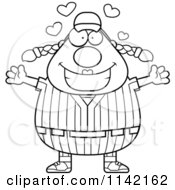 Cartoon Clipart Of A Black And White Amorous Female Baseball Player Vector Outlined Coloring Page