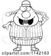 Cartoon Clipart Of A Black And White Female Baseball Player With An Idea Vector Outlined Coloring Page