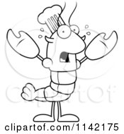 Cartoon Clipart Of A Black And White Scared Chef Lobster Or Crawdad Mascot Character Vector Outlined Coloring Page by Cory Thoman